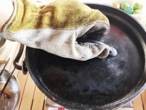 皮 グローブ 鍋